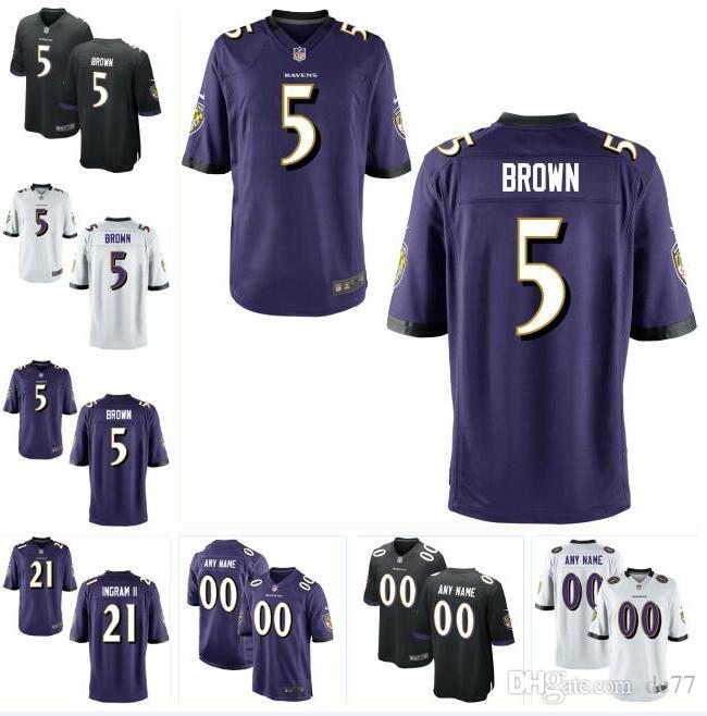 promo code 38349 144a2 5 Marquise Brown Ravens Jersey 21 Mark Ingram 8 Lamar Jackson 29 Earl  Thomas Ray Lewis custom american football jerseys Baltimore authentic