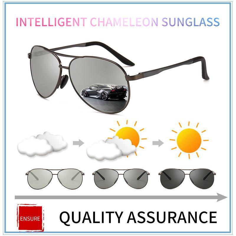 d888b9f21f Compre Gafas De Sol Polarizadas Fotocromáticas Para Hombre De La Marca Gafas  De Conducción Para Hombres Gafas De Sol De Piloto De Metal UV400 Lunette De  ...