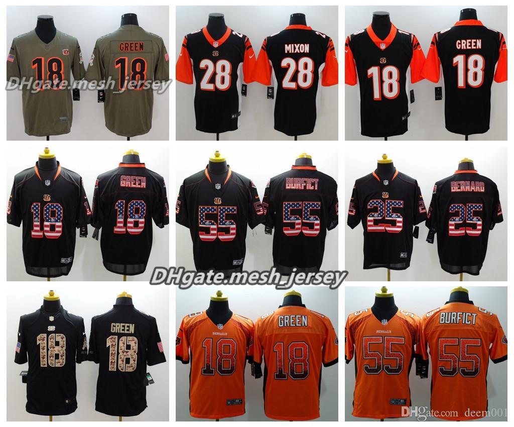 newest collection 3f97d 1cf1e Men Cincinnati Jersey Bengals 18 A.J. Green 25 Giovani Bernard 28 Joe Mixon  55 Vontaze Burfict Color Rush Football Jerseys