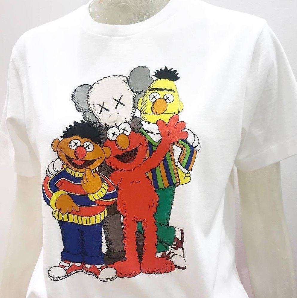 7c09fd702 Sesame Street KAWS X UNIQLO Genuine T Shirt Tee Bert Ernie Elmo S,M,L,XL  Men Women Unisex Fashion Tshirt The T Shirts Shopping T Shirts From ...