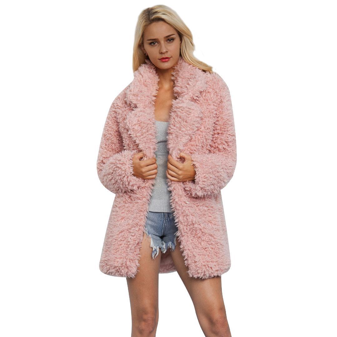 dc436dbda6 2019 NORA TWIPS Elegant Pink Shaggy Women Faux Fur Coat Streetwear Autumn  Winter Warm Plush Teddy Coat Female Plus Size Overcoat From Cravat, ...