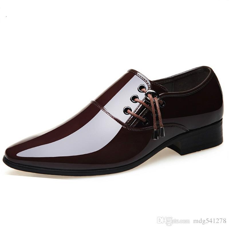 f0502b8f31 Compre Zapatos De Vestir De Negocios Para Hombres Calzado De Boda Formal  Punta Estrecha Moda PU Zapatos De Cuero Pisos Zapatos Oxford Para Hombres A   34.18 ...