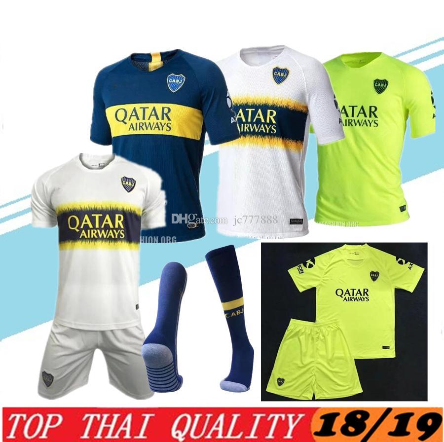 18 19 Boca Juniors Camisetas De Fútbol Para El Hogar Uniformes 2018 19  Jersey De Fútbol De Calidad Para Hombre De Tailandia Boca Away Fútbol Azul  Blanco ... c97cd39755d54