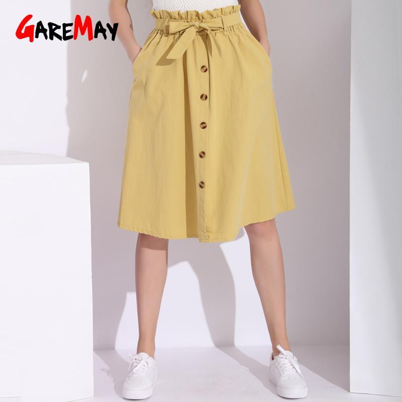 31c962119 Garemay Mujer Midi A Line Falda Con Botones Blanco Retro Botón Elástico de  cintura alta con cordones Falda de algodón Faldas para mujer Y190411