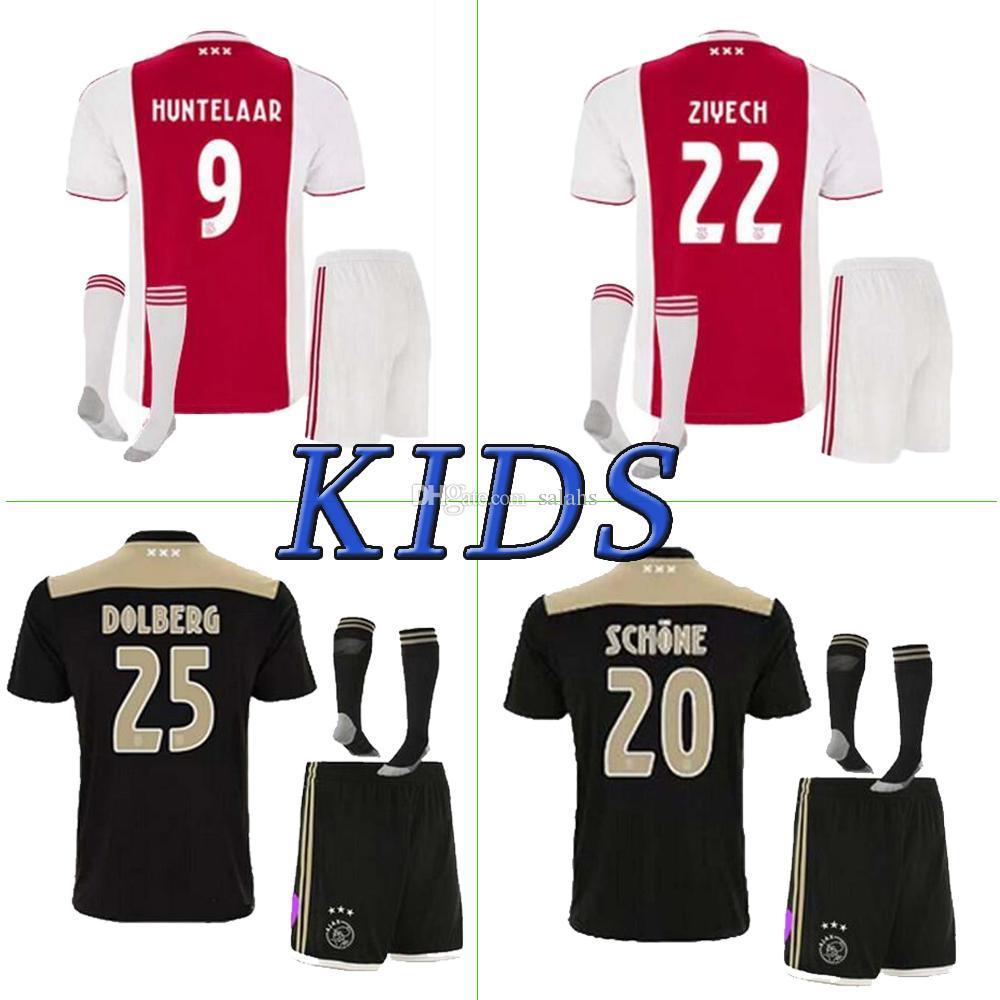f72dc85cfb5c3e 2019 Ajax Soccer Jersey Home Away Ajax Kids Kit 18 19 HUNTELAAR ...