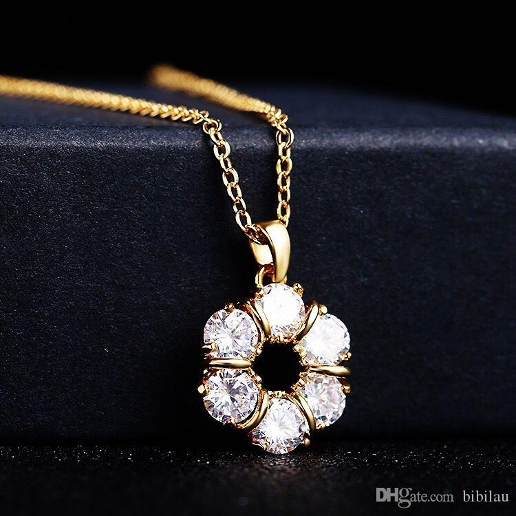Wholesale 214P Lucky Round Pendants Necklace For Women Daily Jewelry Gold  Plated 18k AAA+ Cubic Zircon 46cm Chain Rose Pendant Necklace Pendants And  ... e2b03e3221a