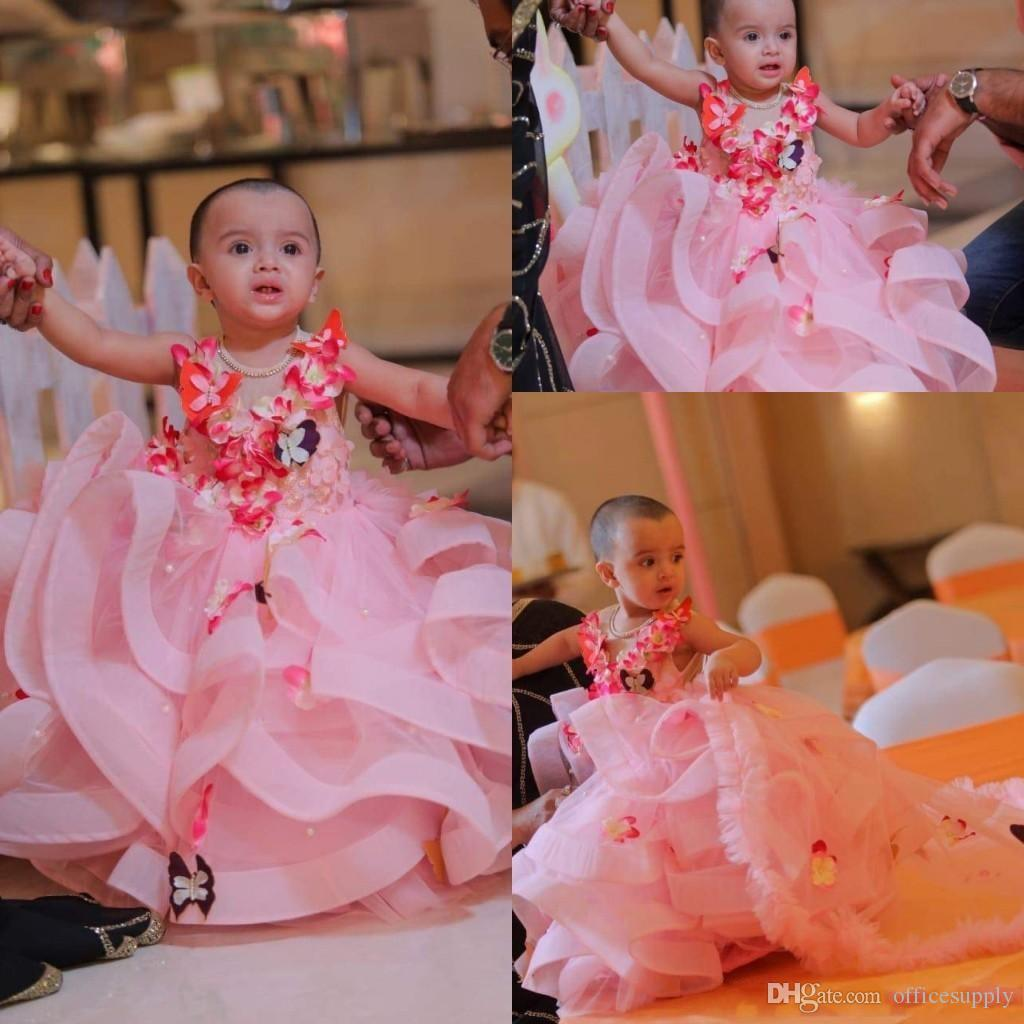 Pink Tulle A Line Toddler Flower Girl Dress Butterfly 3D Floral Applique Layered Ruffles Girls Pageant Dresses Birthday Party Dress