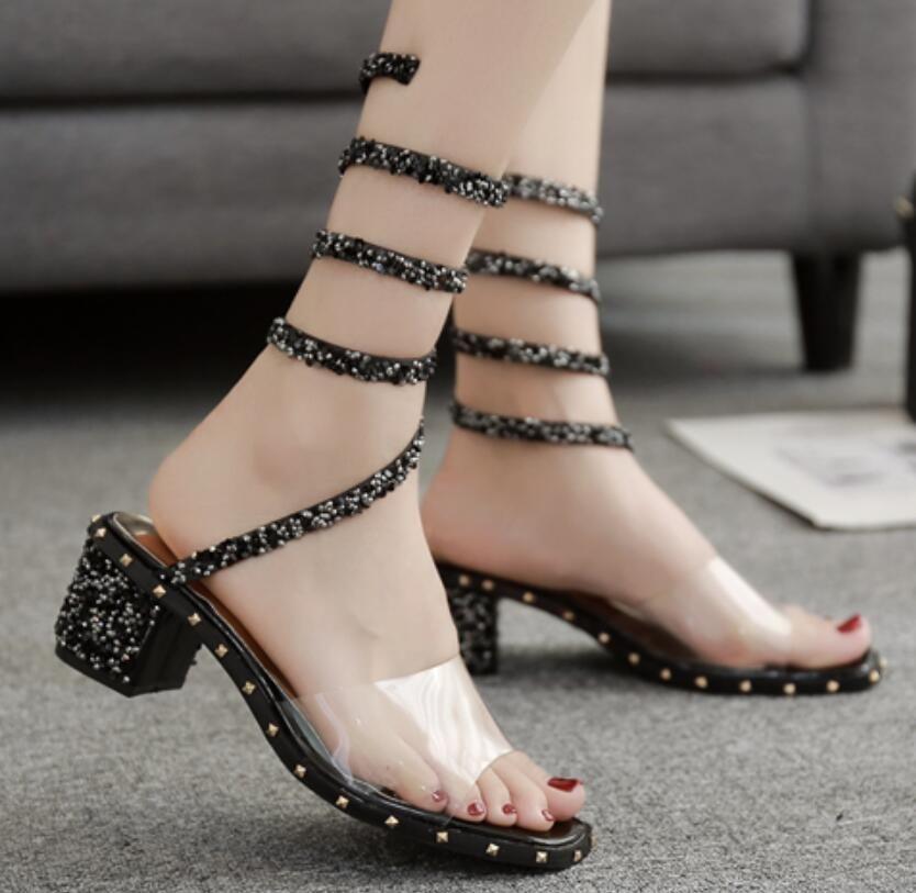 e021228032b8d Women Transparent Ankle Strap Rivet Sandals Open Toe Casual Shoes ...