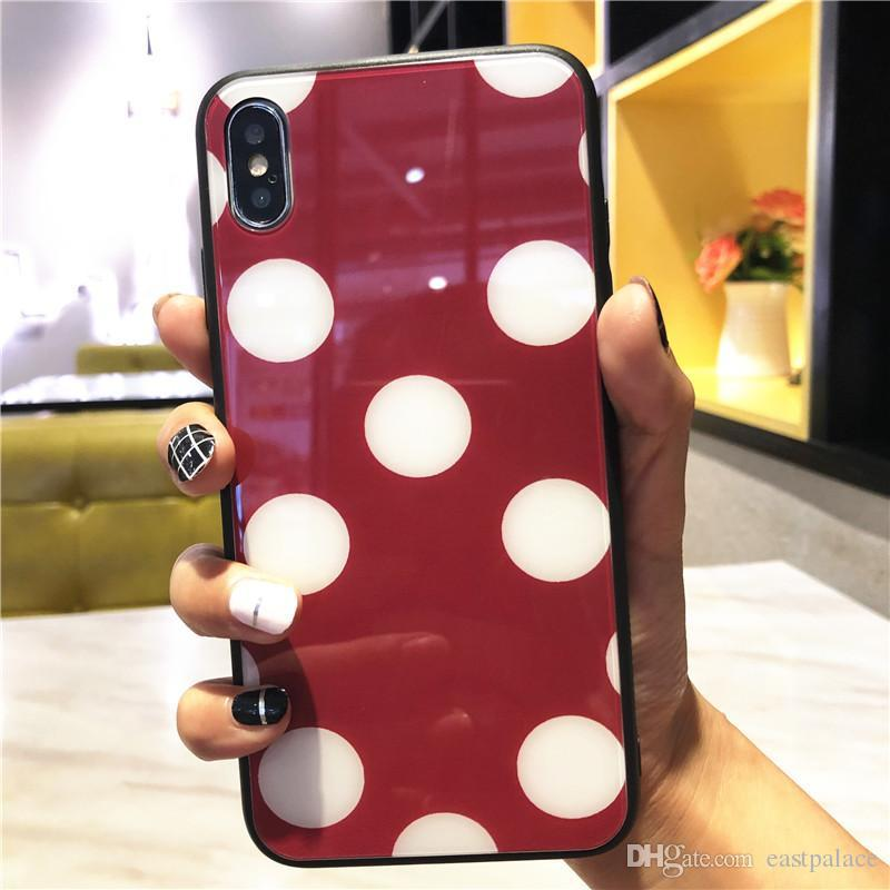 3D Cartoon Dots Glass Case for IPhone X XS MAX XR 8 7 Plus 6 6s Plus 6plus 7plus Case Phone Dot Cover Soft Silicon Bumper Luxury