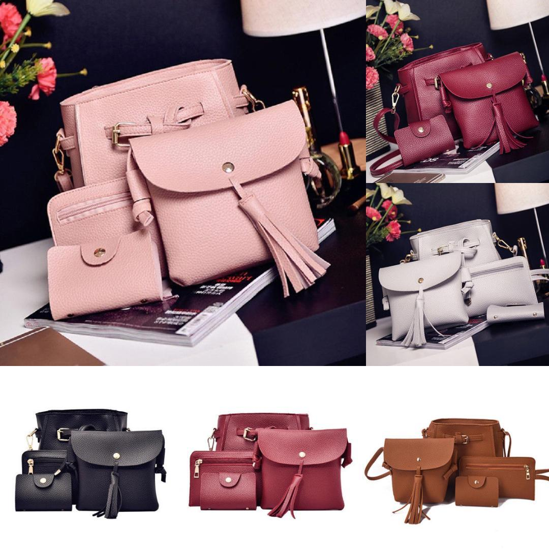 4pcs set Women Travel Bags Women Handbag Lady PU Leather Shoulder Bag Tote Purse Messenger Satche New