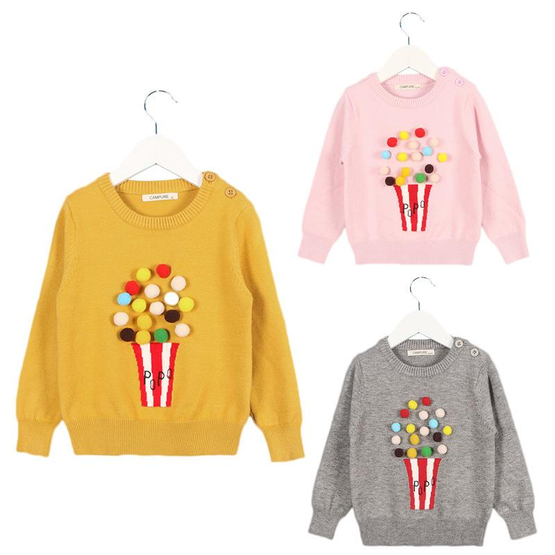 189f6a7ba754 ... Hand Cotton Sweater Pompoms Knitted Jacket Coat Baby Girls Boys  Clothing 1 6 Years Kids Sweater Designs Kids Sweater Knitting Patterns From  Yosicil08