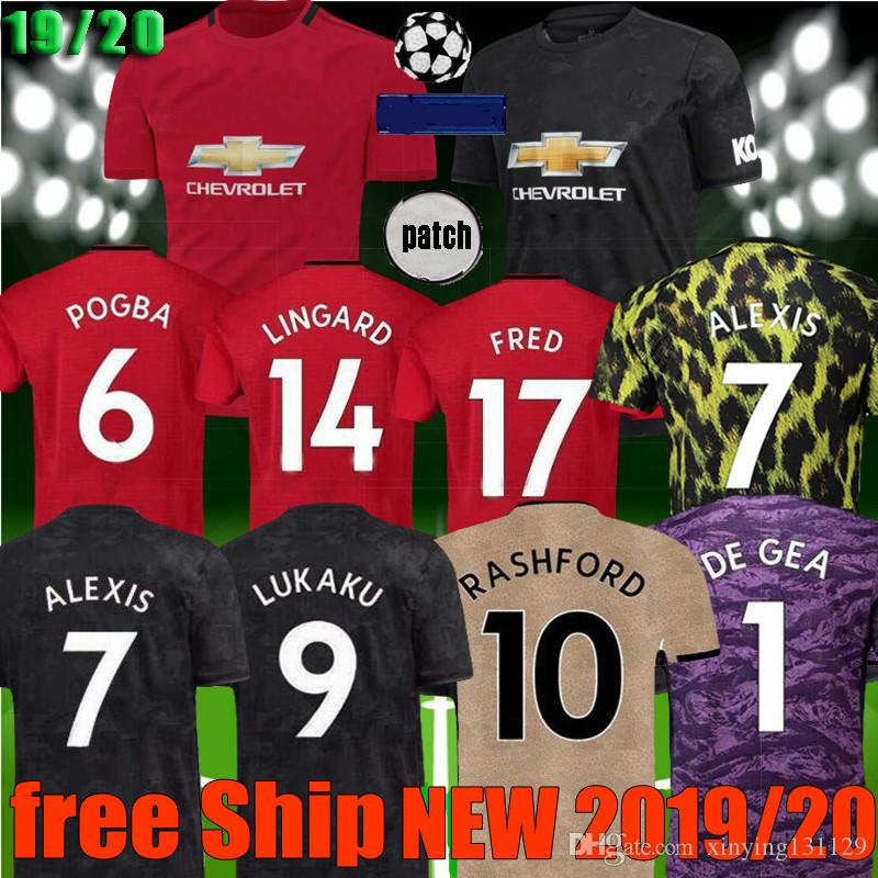 new style 3564a db76c new Manchester 2019 2020 men women united Soccer Jersey 18 19 20 LUKAKU  MARTIAL POGBA RASHFORD goalkeeper jerseys utd ALEXIS Football Shirt