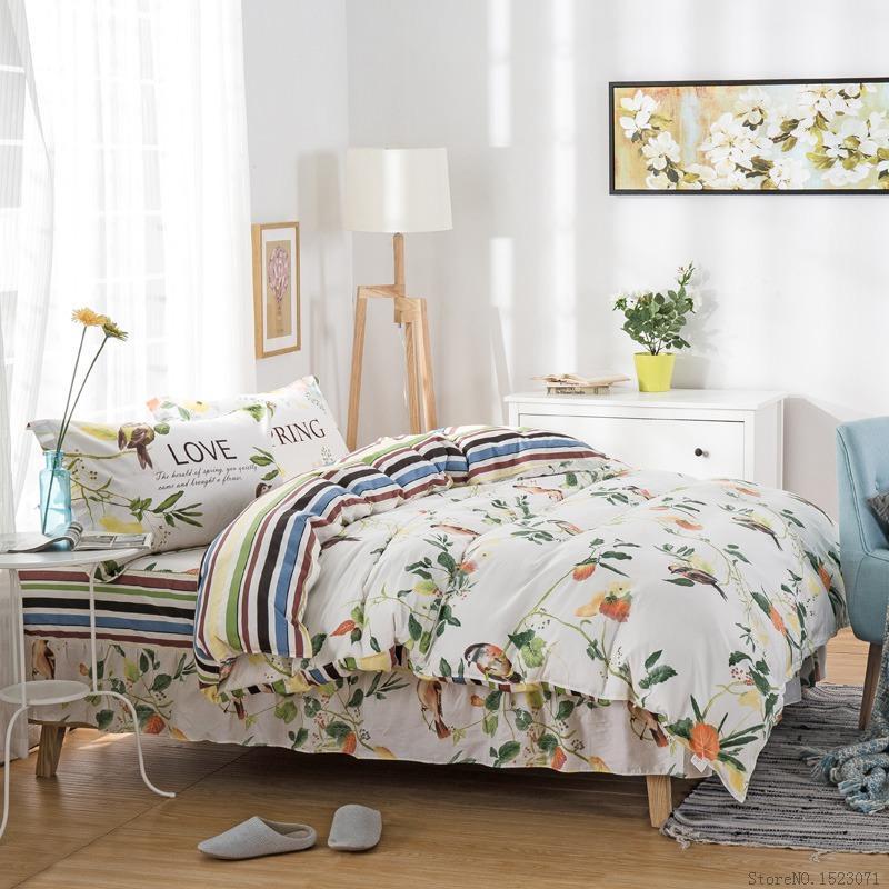 Tutubird Flora Bed Skirt Bedding Set Kids Cartoon Plaid Bed Linen