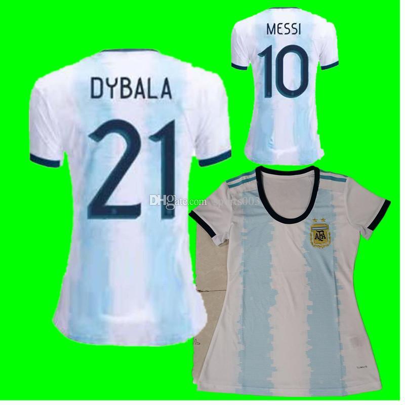 new products 544fe fffbf Argentina 2019 2020 Copa America women Soccer Jersey Home Blue White Soccer  Shirt Messi Dybala AGUERO Football Uniform