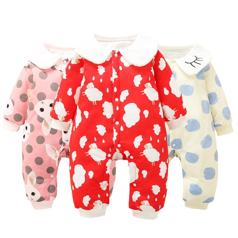 a0825db836ec 2019 6 9 12 18 Month Baby Girls Romper Newborn Jumpsuit Infant Winter  Cotton Warm Long Sleeve Baby Girls Clothes Toddler Birthdays From  Textgoods04