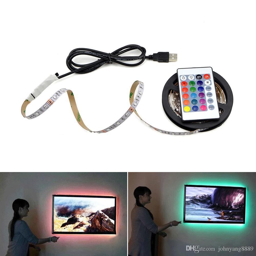 USB Lámpara de tira LED 2835SMD DC5V Cinta de cinta de luz LED flexible 1M  2M 3M 4M 5M HDTV TV Pantalla de escritorio Fondo Bais Iluminación