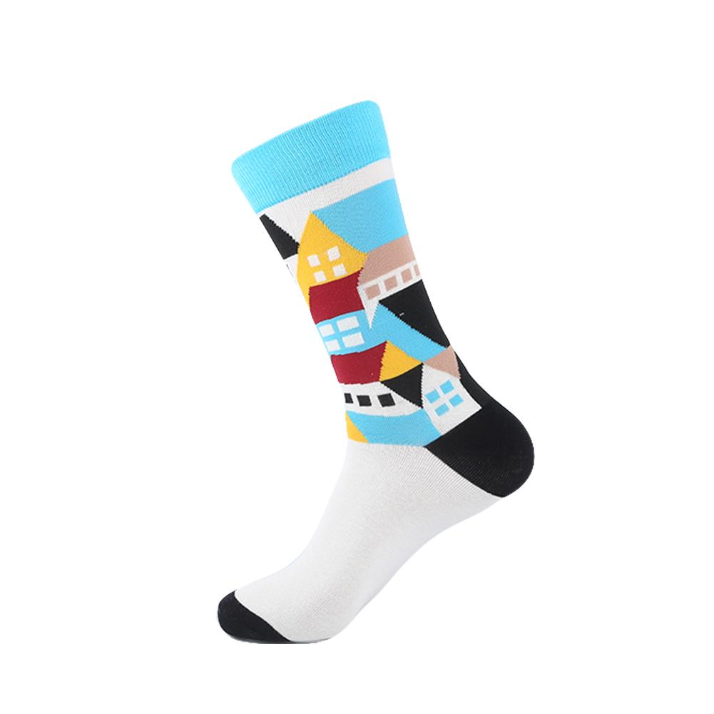 YEADU Men's Funny Colorful Combed Cotton Socks Geometry Style Dress Casual Crew Socks for Man