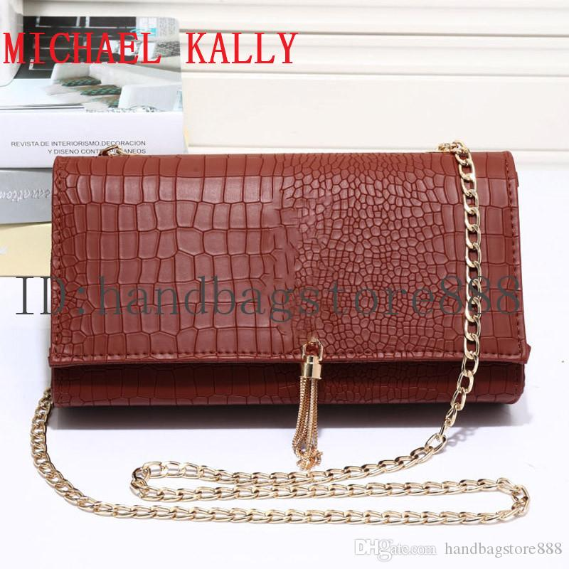 f31259a54221 Famous Brand Luxury Designer Women Alligator Bag MICHAEL KALLY Handbag PU  Leather Tassel Bags One Shoulder Message Bag Crossbody Chain Purse Chain  Purse ...