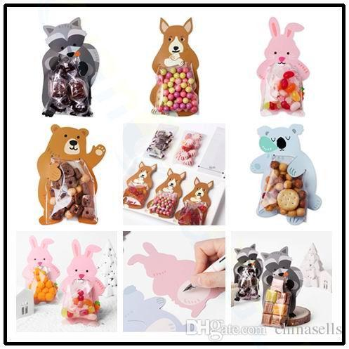 10pcs/set cute animal baby shower birthday party gift bags candy cookie baking bag candy box with bear rabbit greeting cards