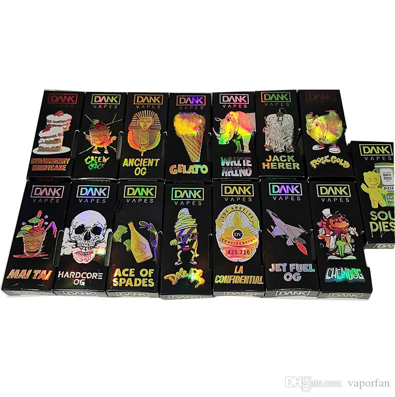 Hologram Dank Vape Cartridge Packaging Side Window Boxes Black Dank Boxes  Packaging E Cigarettes Vape Cartridge Packaging for M6T Cartridges