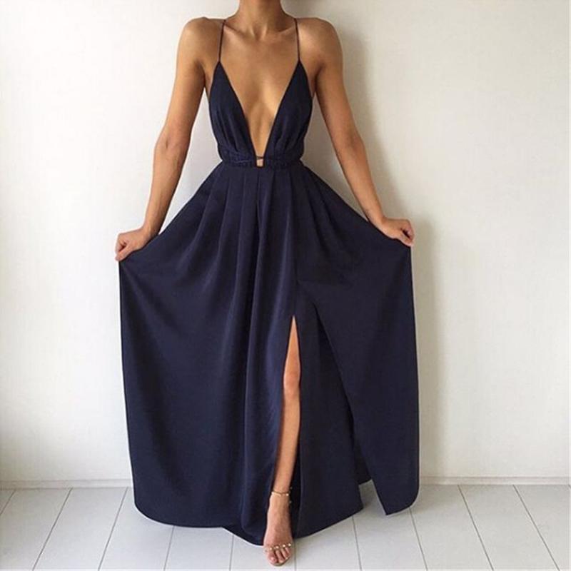 31c8c05bc1e07 Summer Maxi Dress Women Solid Sexy Deep V-Neck Sleeveless Spaghetti Strap  Backless High Split Long Sundress Vestidos Q190424