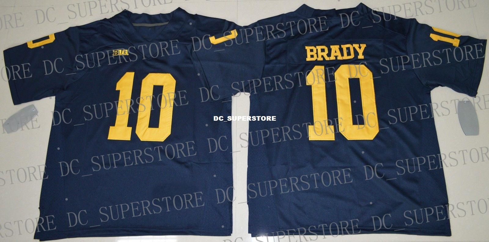wholesale dealer e3219 6f6b9 Cheap custom Michigan Wolverines Tom Brady #10 College Football Jersey Navy  Blue Stitched Customize any number name MEN WOMEN YOUTH XS-5XL