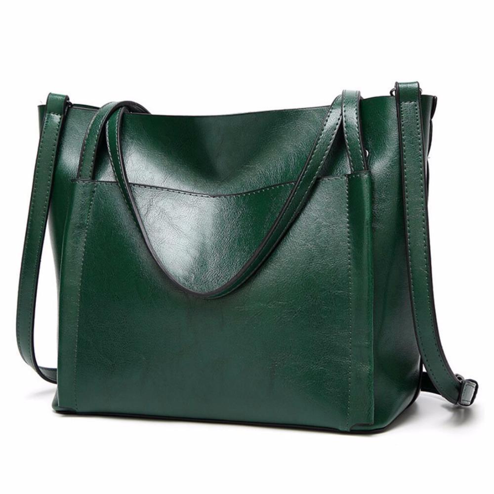New Fashion Oil Wax Leather Women Bag Handbag Soft Leather Women S  Messenger Bags Black Green Casual Tote Female Crossbody Bag Hobo Handbags  Italian Leather ... 4673785bf95f2