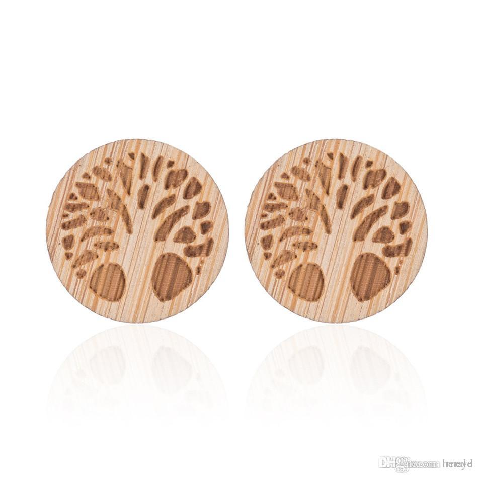 fe2528b4e18 Aretes de madera libres de alergias árbol de la vida que deseen árbol de  moda pendientes de madera creativos de alta calidad NY-019