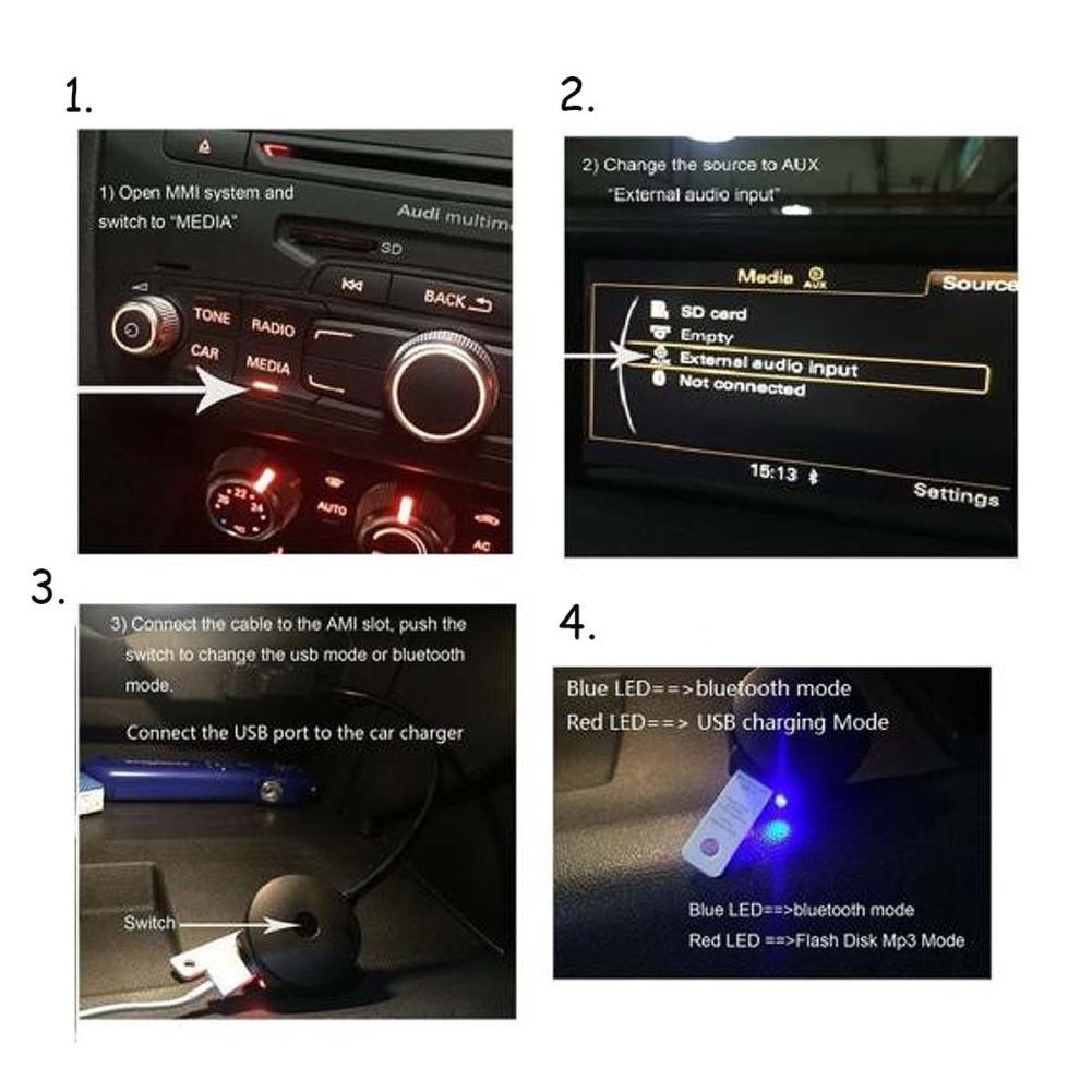 Adaptateur de voiture USB câble adaptateur Bluetooth USB de voiture AMI lecteur MP3 pour Audi / VW Portable mini Noir Bluetooth Musique Audio Récept