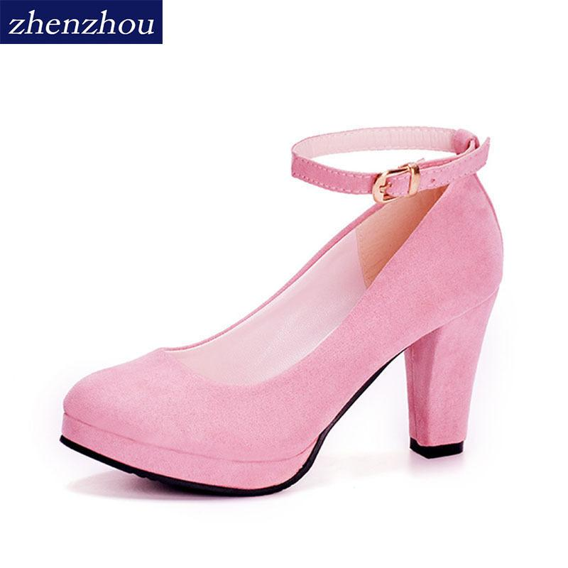 546c754097a Shoes Spring and summer 2019 new round head crude and women s single shoe  wholesale ankle strap heels women s new fashion trend