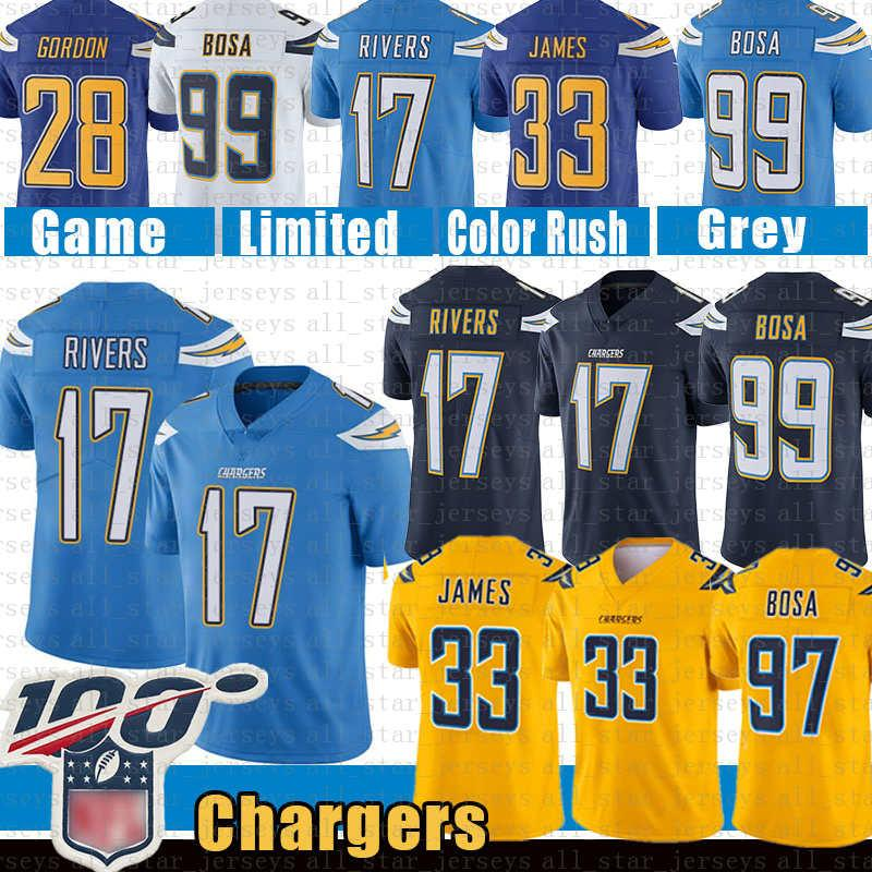 quality design b5799 3336f 33 Derwin James Los Angeles 17 Philip Rivers Chargers Football Jersey 97 99  Joey Bosa 28 Melvin Gordon gold blue color rush jerseys