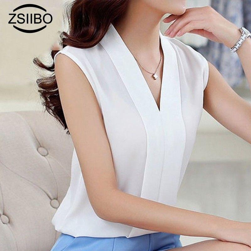 f8a5ad01c5b0cc 2019 Korean Style Fashion Women Chiffon Blouses Ladies Tops Female  Sleeveless White Shirt Blusas Femininas Plus Size Women Clothing From  Moonlight710, ...