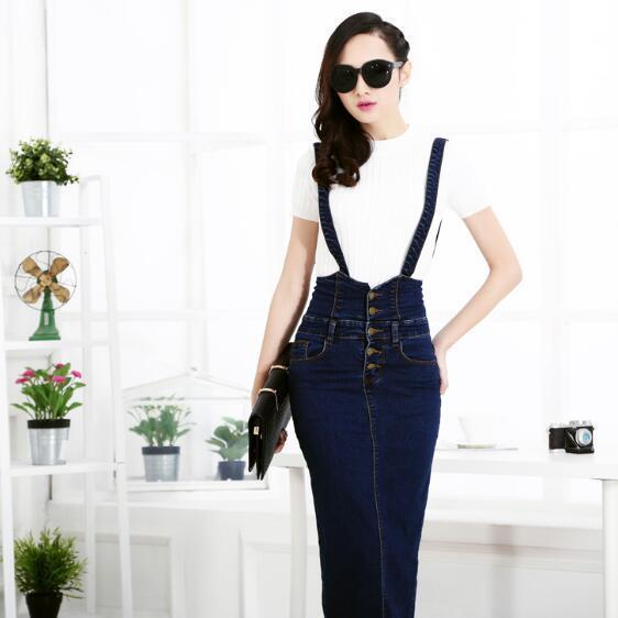42cb2f6143 2019 Plus Size Clothing Denim Suspender Skirt Long Hot Sale Korean Style  Casual Pencil Women Jean Skirts 3xl Ah426 C19041601 From Xiao0002, $30.05 |  DHgate.