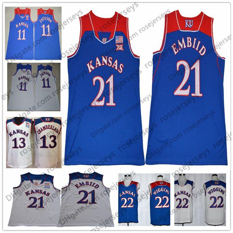 c2c9826a0140 2019 NCAA Kansas Jayhawks  13 Chamberlain 21 Embiid 22 Wiggins 11 Jackson  Wilt Joel Andrew Josh Retro Royal Blue White College Basketball Jerseys  From ...