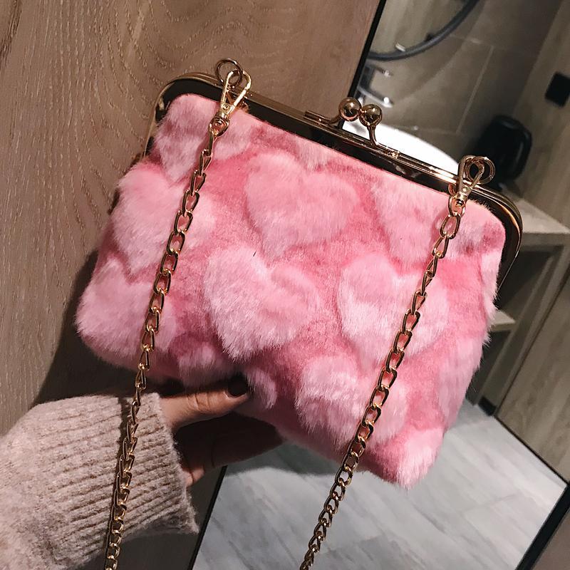f5d563cdbd5b 2019 Winter   Autumn Luxury Faux Fur Women Bag Female Cute Pink Love Fur  Shoulder Bag Chain Handbag Women S Evenning Bag 300 Ladies Handbags Leather  ...