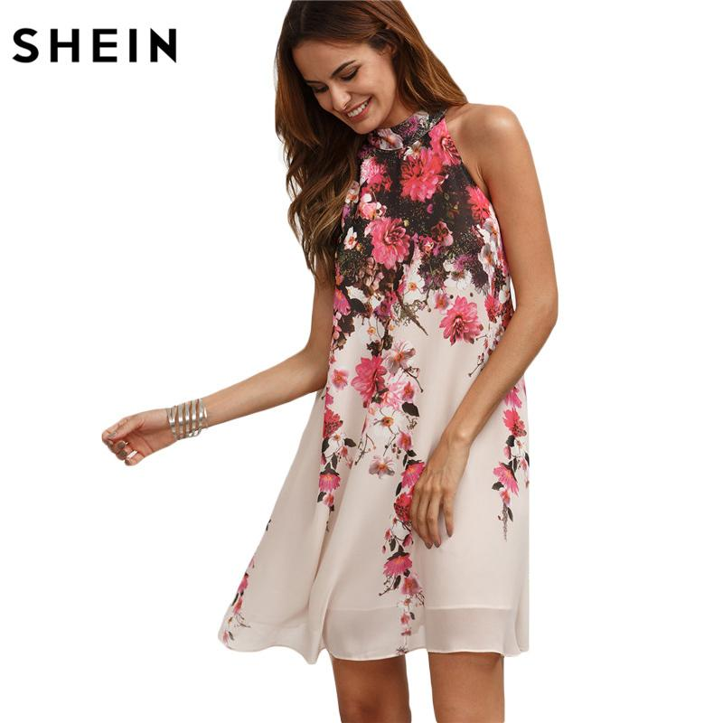e1ec4d0ac34f 2019 Shein Summer Short Dresses Casual New Arrival Womens Multicolor Round  Neck Floral Cut Out Sleeveless Shift Dress Y19012201 From Jinmei03, ...