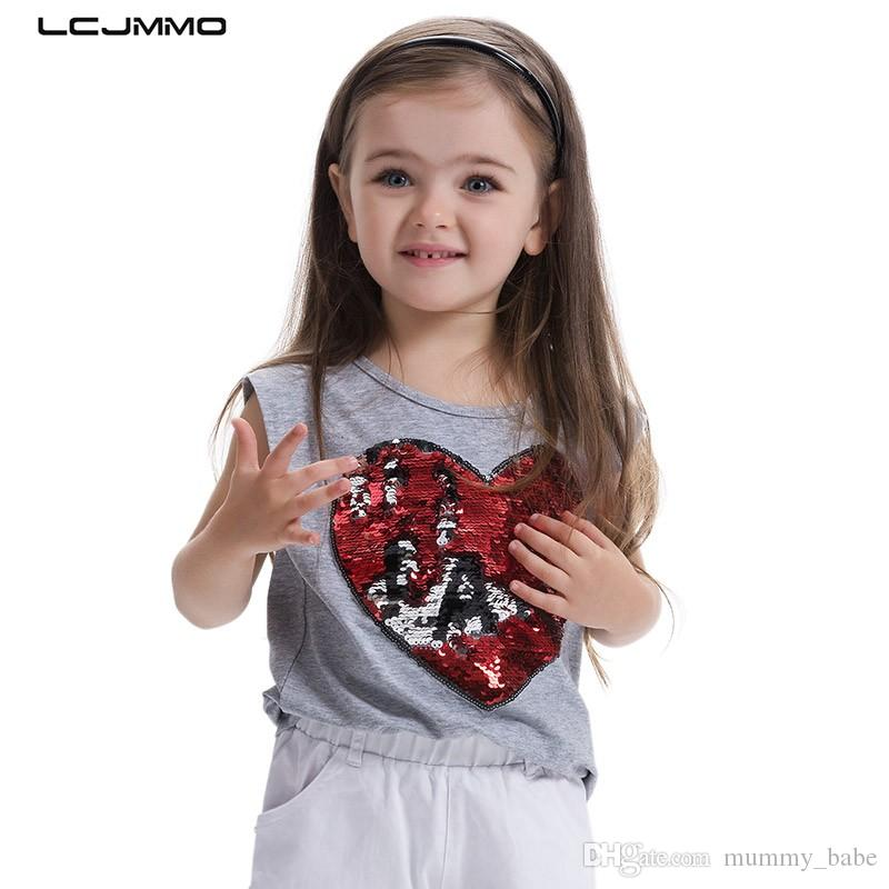 eb4c1fd99e0e5 LCJMMO High Quality New Girls T-Shirt 2017 Summer Childen Cotton Sequins  T-shirt For Girl Tops O-neck Kids Clothes For 3-8 Years
