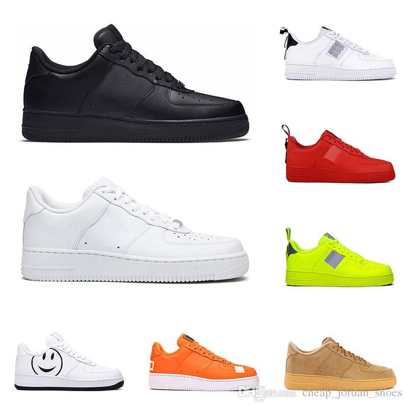 2019 Nike Air Force 1 one airforce Shoe Nuevas Fuerzas Hombres Mujeres Low Cut One 1 Zapatos Casuales Blanco Negro Dunk Deportes Zapatillas de Skate