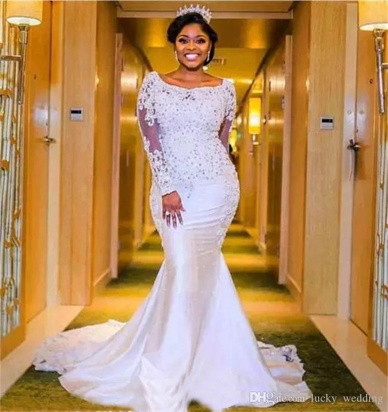 2018 Nigerian Wedding Dresses Sweetheart Neckline with Sheer Lace Appliqued Long Sleeves Chapel Train Length African Black Girl Bridal Gowns
