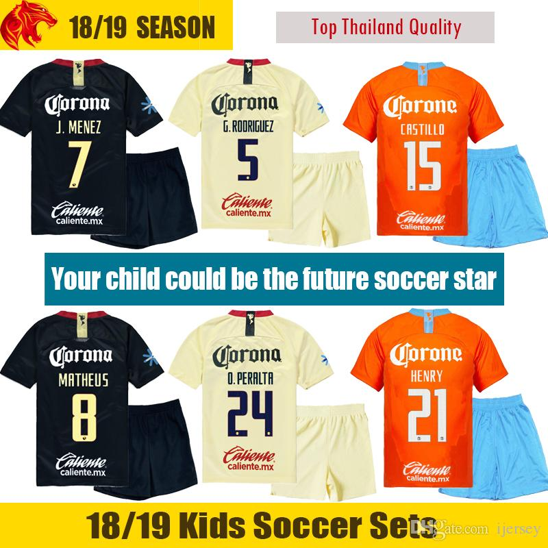 brand new 2406a 0e1e5 18 19 Club America Kids Soccer Jersey J.MENEZ MATHEUS Kids Kit CASTILLO  Children Football Uniform G.RODRIGUEZ HENRY Youth Soccer Sets