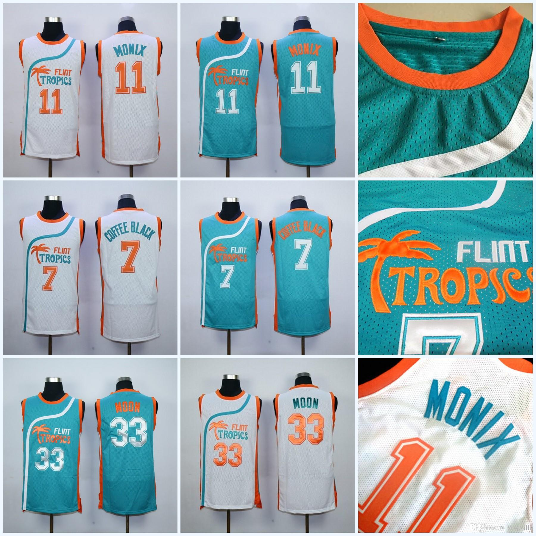 698502d69211 2019 Mens Flint Tropics Semi Pro  11 Ed Monix Basketball Jersey  7 Coffee  Black  33 Jackie Moon Movie Jerseys White Blue Stitched S XXXL From  Vivavilla