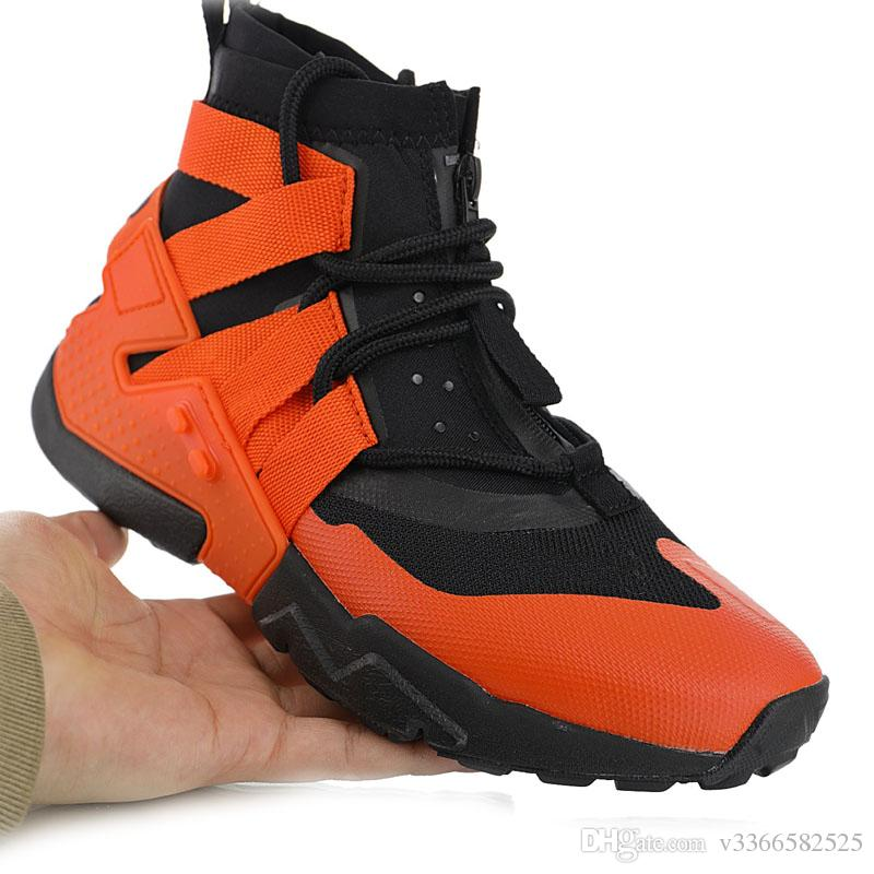 brand new f0062 f78b6 2019 new Huarache Gripp 6S orange red black jogging casual shoes beam  zipper function high to help men's shoes Huaraches size US 7-11