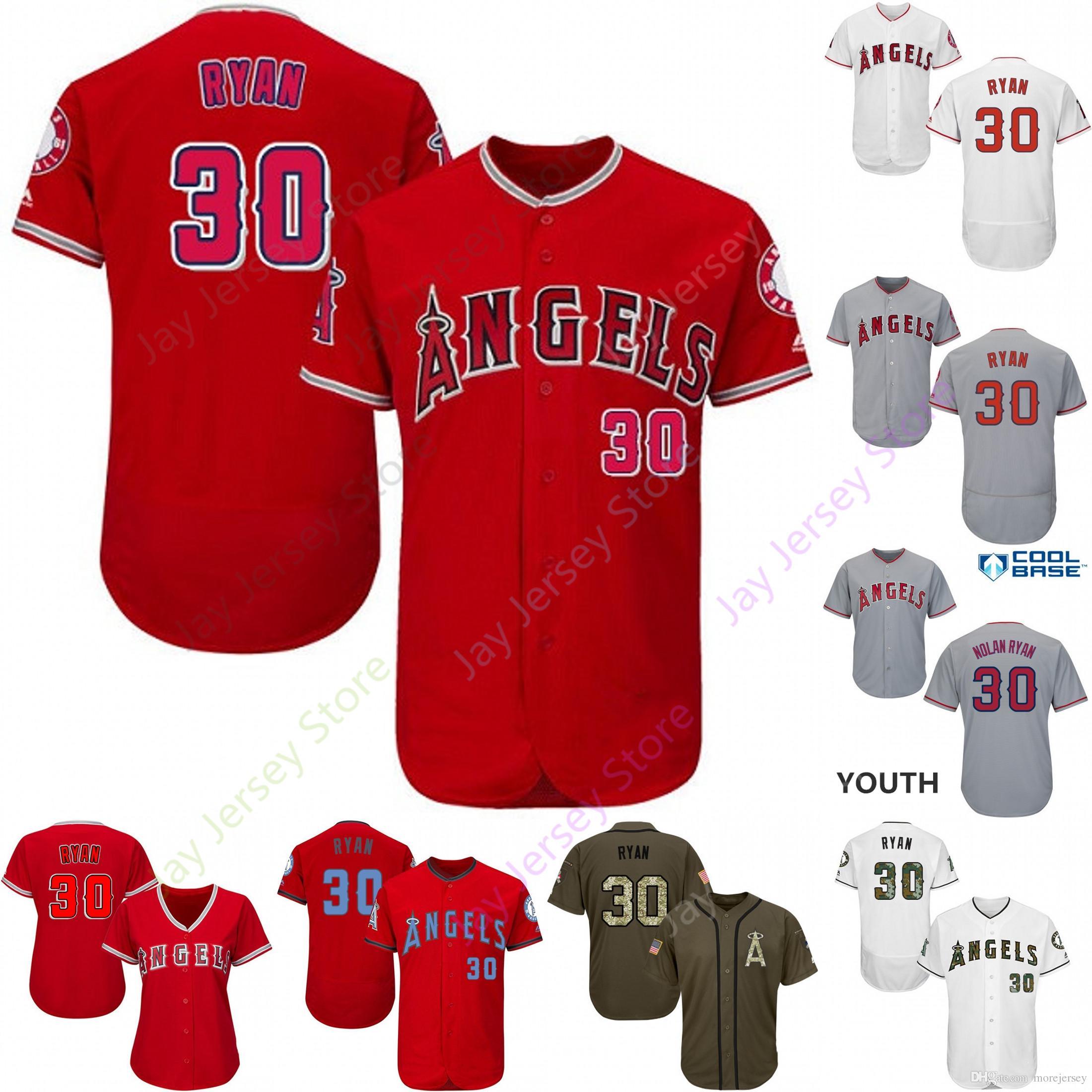 timeless design c4cd4 d5980 2019 Los Angeles 30 Nolan Ryan Jersey Angels of Anaheim Jerseys CoolBase  Flexbase Home Away White Black Red Grey Pullover Button Men Women