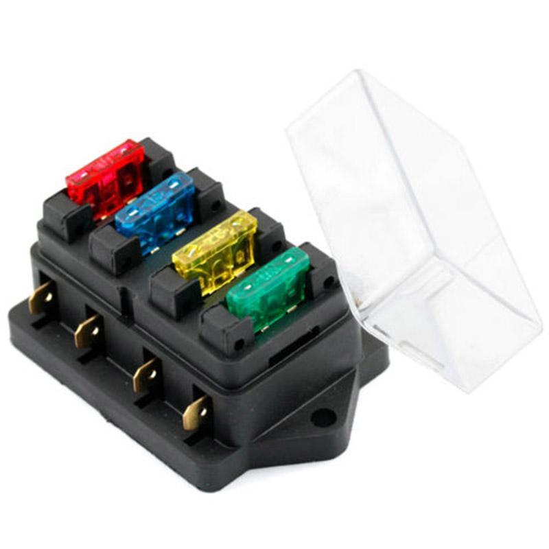 automobile 12v 24v 4way car truck auto blade fuse box holder +4pc fuse  circuit standard ato