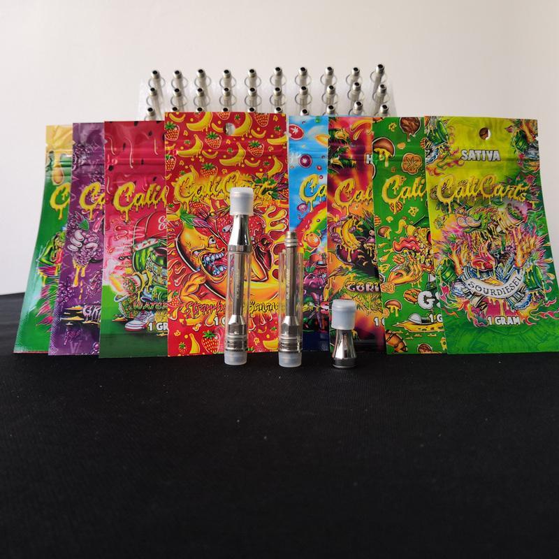 Newest empty calicarts vape cartridge rainbow ziplock packaging bag 1 gram  cali carts retail package e cigarette accessories