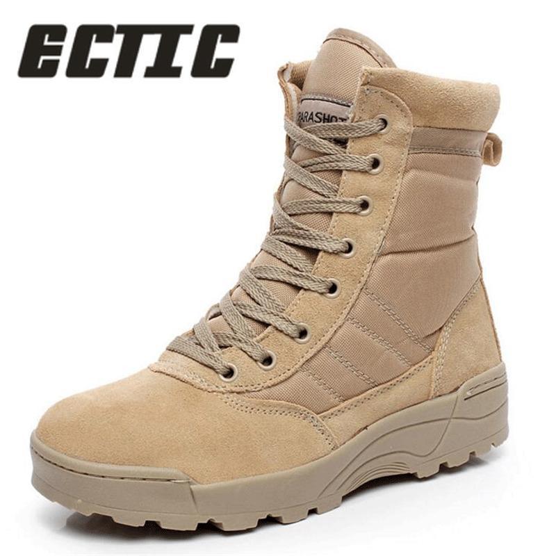 Acheter ECTIC 2018 Nouveaux Hommes Bottes Militaires Du Désert Hiver  Tactiques De Neige Bottes Bottines Combat À Lacets En Plein Air Chaussures  Travail ... 0bffffe074f7