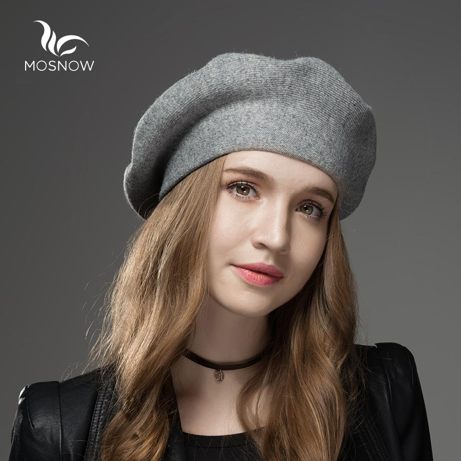 564c4fb24f4a27 MOSNOW Winter Hat Berets 2018 New Wool Cashmere Womens Warm Brand Casual  High Quality Women'S Vogue Knitted Hats For Girls Cap S18120302 Sun Hats  Sun Hat ...
