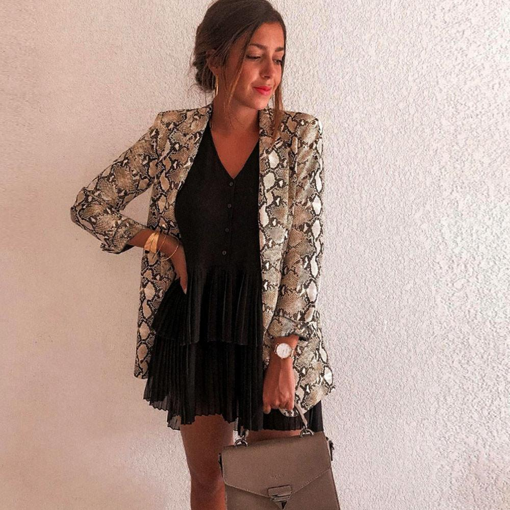 New Arrival Vintage Women's Snake Print Blazer Long Sleeve Suit Coat Blazer Biker Jacket Outwear Tops Winter Jacket Veste Femme