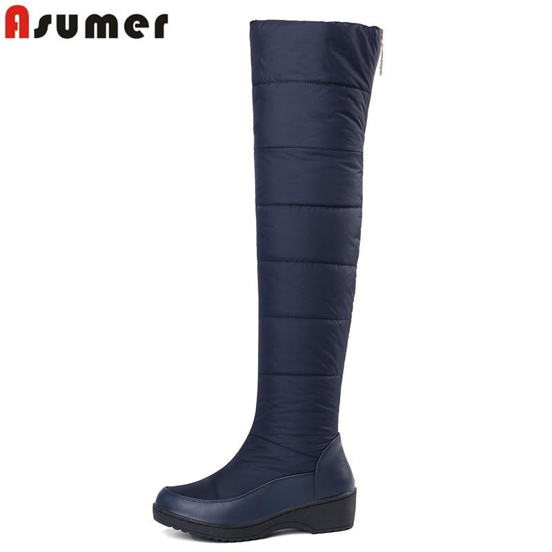 567d201ca0e 2019 ASUMER 2018 New Keep Warm Snow Boots For Women Platform Shoes Thigh  High Boots Zip Thick Fur Over The Knee Boots EUR Size 35 44 Sporto Boots  Boys Boots ...
