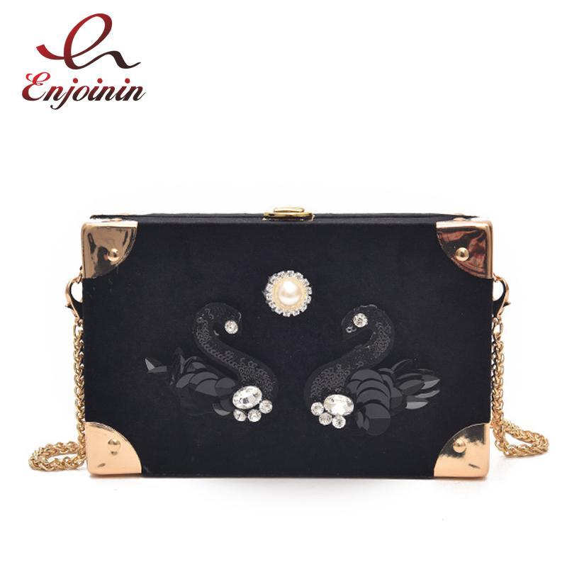 Luxury Sequins Swan Pearl Fashion Box Shape Women's Party Clutch Bag Shoulder Bag Handbag Ladies Crossbody Mini Messenger Bag